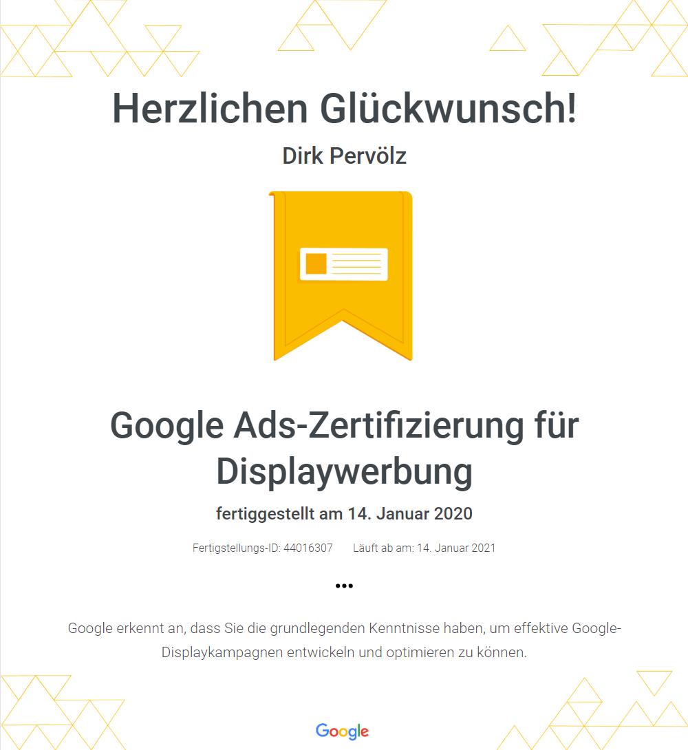 Zertifikat Google Ads - Display