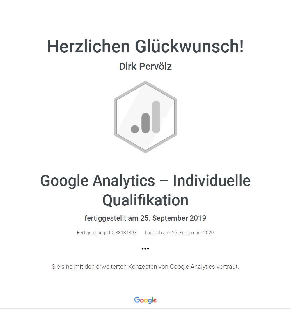 Zertifikat Google Analytics - Qualified Individual